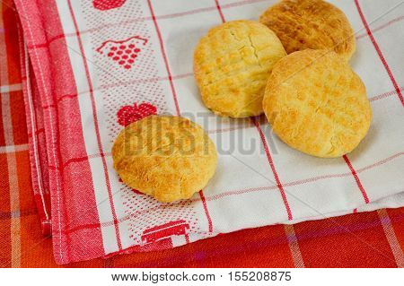 Cheese biscuits - 4 Cheese biscuits on towel closeup