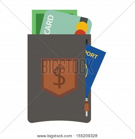 Purse wallet with money vector ico for shopping. Shopping buy business purse wallet. Financial payment bag accessory object purse trendy wallet vector.