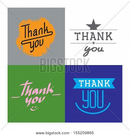 Custom thank you text hand lettering. Vector illustration thank you text lettering. Typography decorative design font thank you text lettering calligraphy script word.
