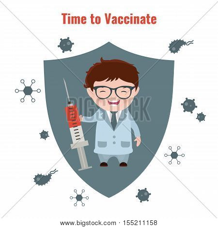 Vaccination and health concept. Illustration of a doctor with a syringe in his hand. Medical immunization patient healthcare. poster