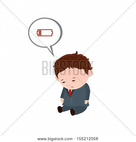 Chronic fatigue syndrome. Man with low battery.