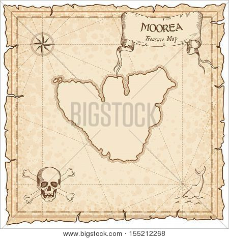 Moorea Old Pirate Map. Sepia Engraved Parchment Template Of Treasure Island. Stylized Manuscript On