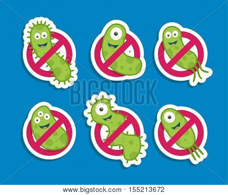 Antibacterial sign with green bacteria. Isolated vector illustration.