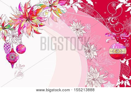 Festal backdrop with Pink and Red Elements ,Adorned with Poinsettia,Christamas Balls and Snowflakes