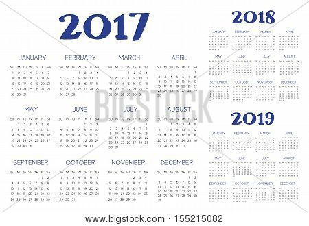 English Calendar 2017-2018-2019 vector blue and black