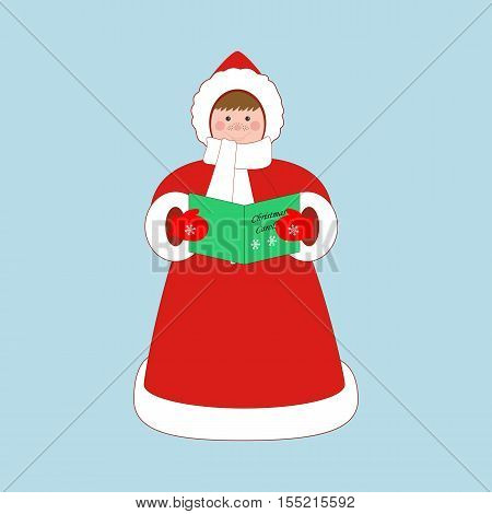 Christmas carols singer on the blue background. Vector illustration