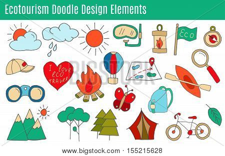 Set of ecotourism design elements in flat style isolated on a white background. Doodle eco green environmental nature logo concept.