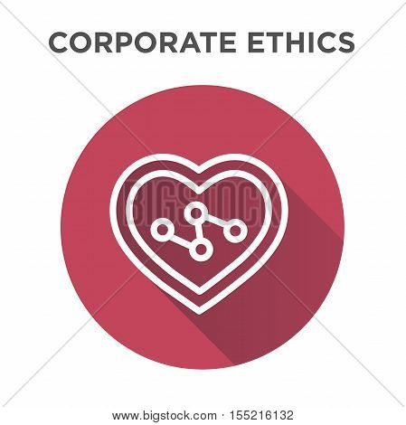 Corporate Ethics Icon Set with heart and connection symbols