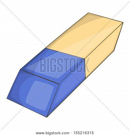 White eraser with blue wrapper icon. Cartoon illustration of eraser vector icon for web design