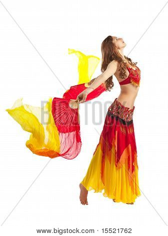 Beauty girl dance with fantail in oriental costume