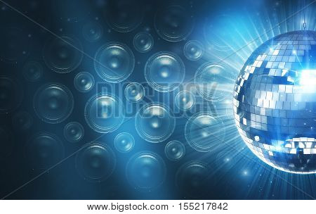 Blue Disco Background with Speakers and Shiny Disco Ball