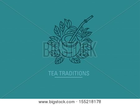 Logo on tea traditions. Tea leaves and tea mate