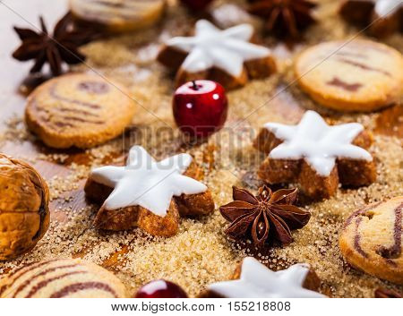 Homemade cookies in start shape for Christmas