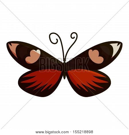 Dark butterfly icon. Cartoon illustration of dark butterfly vector icon for web