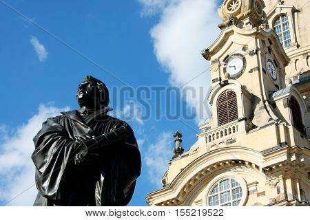 the Martin Luther monument in Dresden (Germany)
