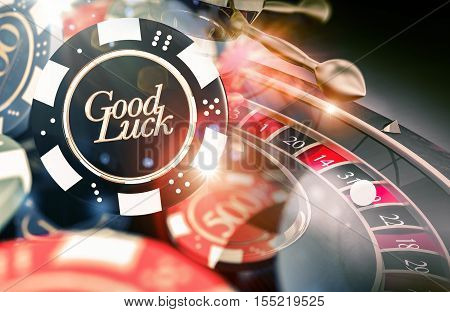 Roulette Good Luck Concept 3D Illustration. Casino Roulette Playing.