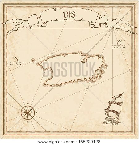 Vis Old Treasure Map. Sepia Engraved Template Of Pirate Island Parchment. Stylized Manuscript On Vin
