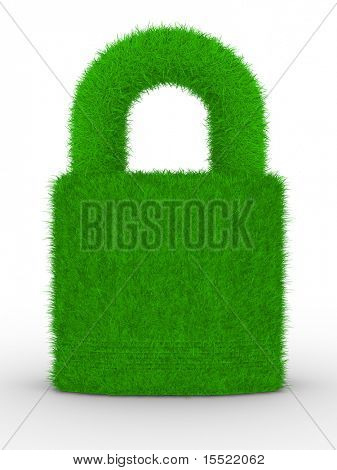 grassy closed lock on white background. Isolated 3D image