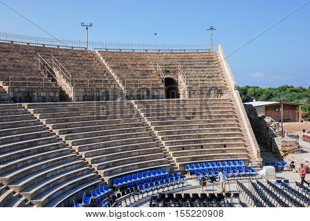 CAESAREA ISRAEL - MAY 10 2008: Caesarea roman amphitheatre