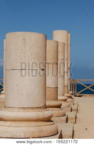 Fragment of the ancient cornice in the National Archaeological Park Caesarea