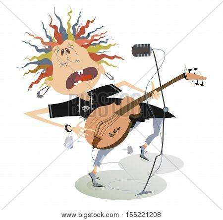 Let be where rock. Guitarist is playing music and singing with the great inspiration