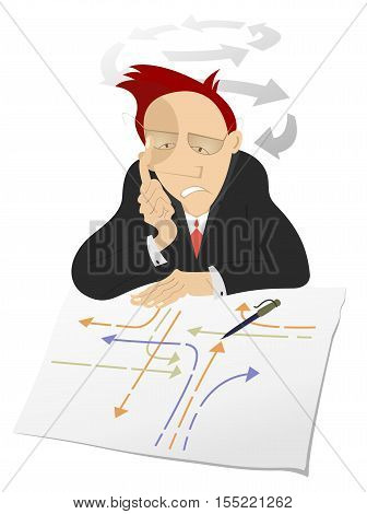 Thinking man. Busy man looks the paper with many pointers and thinks how to settle the problem or creates new ideas