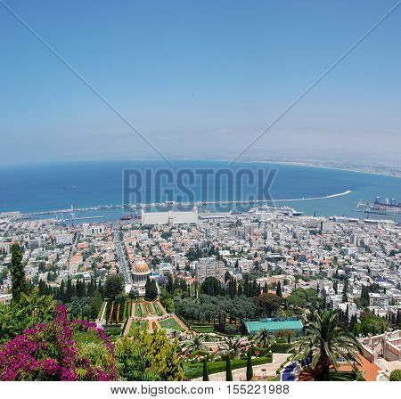 Panoramic View Of Bahai Temple And Haifa Bay, Israel