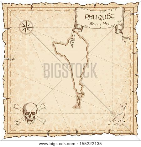 Phu Quốc Old Pirate Map. Sepia Engraved Parchment Template Of Treasure Island. Stylized Manuscript O