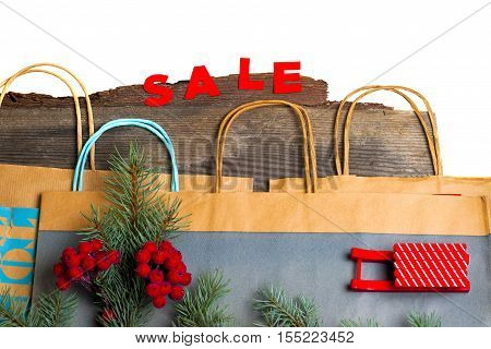 Christmas Gift Bags. hot Sale and pine branches