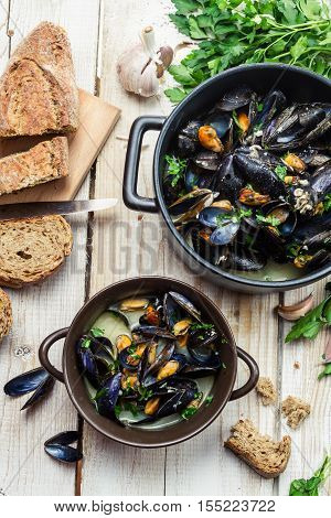 Freshly cooked mussels with garlic and parsley at home