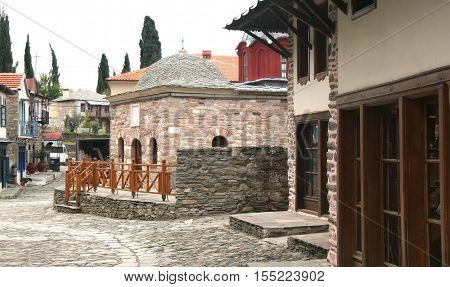 Karia - the capital of Athos monastic republic. Athos. Greece