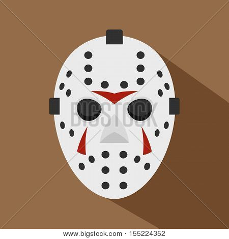 Hockey mask icon. Flat illustration of hockey mask vector icon for web design