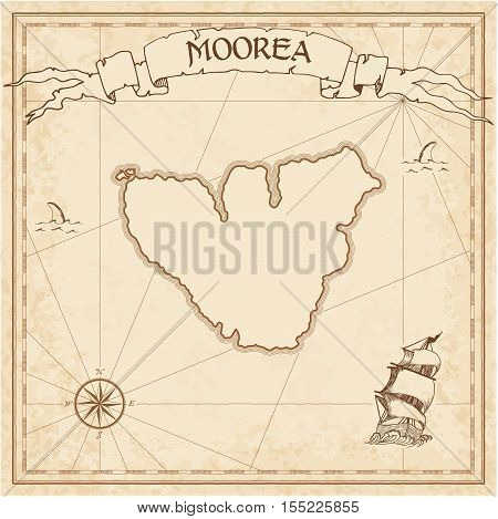 Moorea Old Treasure Map. Sepia Engraved Template Of Pirate Island Parchment. Stylized Manuscript On