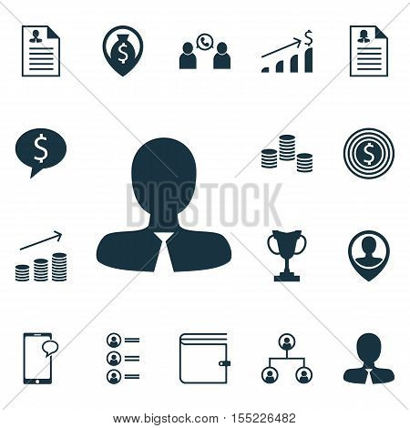 Set Of Human Resources Icons On Tree Structure, Successful Investment And Money Topics. Editable Vec