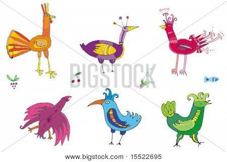 Colorful cute birds -  set of characters. To see similar birds sets, please visit my gallery