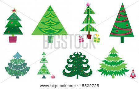 christmas tree - set of vector elements. To see more christmas sets, please visit my gallery