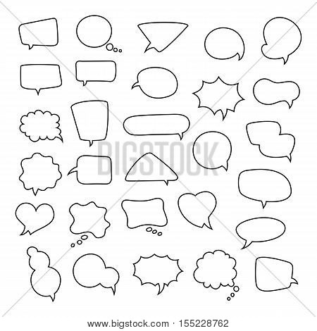 Icon set of empty speech bubbles, think clouds. Collection of comics talk balloon symbols. Vector illustration