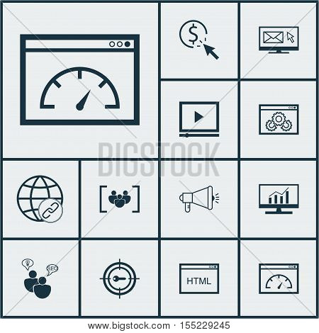 Set Of Advertising Icons On Seo Brainstorm, Keyword Marketing And Ppc Topics. Editable Vector Illust