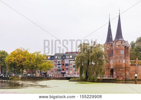 The view of Cathedral in old town in Delft, Netherlands