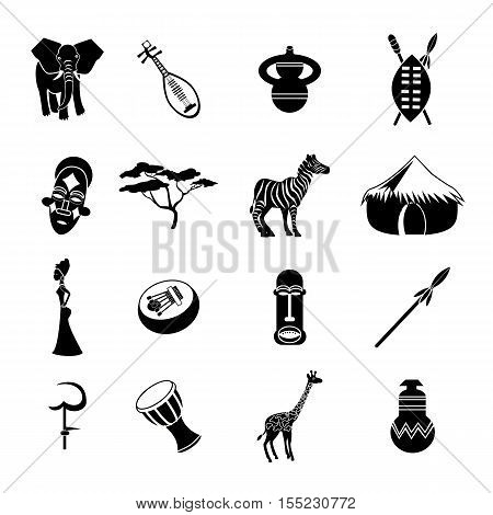 Collection of african ethnic vector icon isolated on white background. Africa icon for website, tourism, travel, mobile phones and social networks.