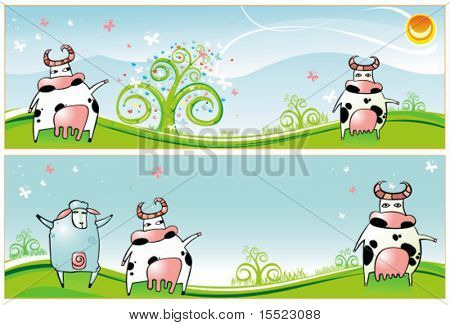 Horizontal Spring Easter banners with Cows, sheep, spring flowers and butterfly. To see similar,  please visit my gallery.