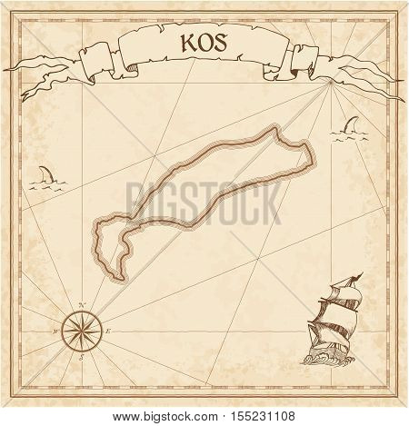 Kos Old Treasure Map. Sepia Engraved Template Of Pirate Island Parchment. Stylized Manuscript On Vin