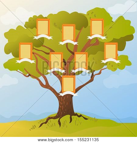Family tree with frames for photos of family members. Vector illustration family tree flat style.