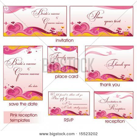 Pink reception card set 4. To see similar, please visit my gallery.