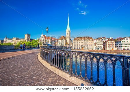 View of historic Zurich city center with famous Fraumunster Church Limmat river and Zurich lake Zurich Switzerland