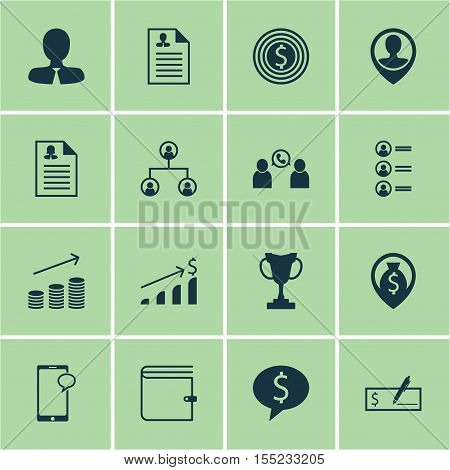 Set Of Human Resources Icons On Phone Conference, Job Applicants And Manager Topics. Editable Vector