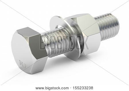 Bolt with nut and washer 3D rendering isolated on white background