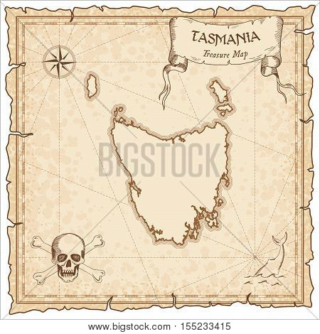 Tasmania Old Pirate Map. Sepia Engraved Parchment Template Of Treasure Island. Stylized Manuscript O