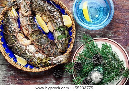 Christmas Dish Of Roasted Fish