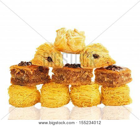 Set oriental arabian baked sweets isolated on white